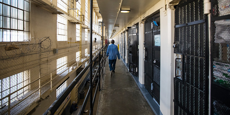 Inside the cell block at San Quentin State Prison