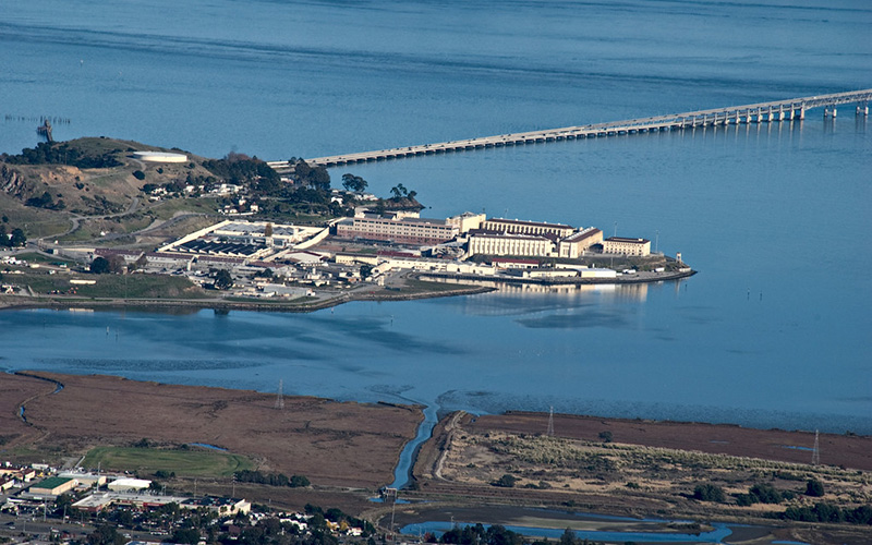 San Quentin State Prison as seen from the top of Mount Tamalpais