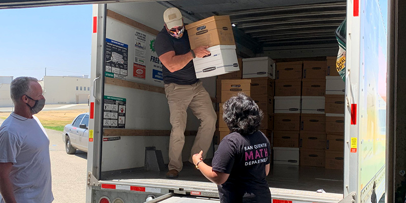 MTC volunteers delivering Covid-19 care packages to Avenal State Prison