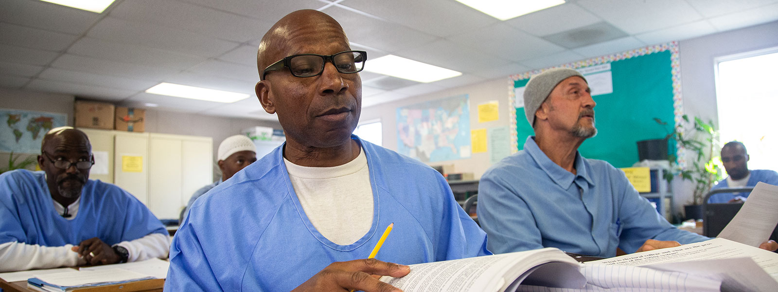 Students in the classroom at San Quentin