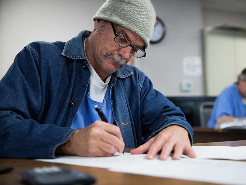 Mt. Tam student in the classroom at San Quentin State Prison